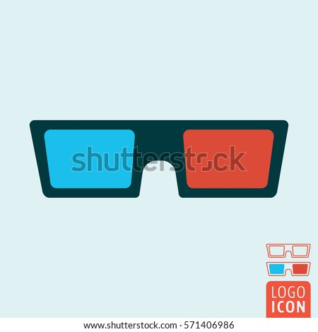 3d glasses icon. Cinema 3d spectacles symbol. Vector illustration.