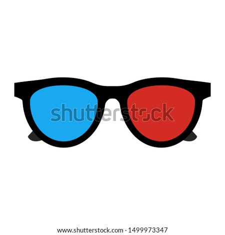 3D Glasses Icon isolated on White. Vector Illustration. Flat Simple Icon. Cinema Movie Film Watching Design Element. #1499973347