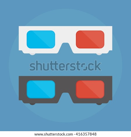 3D glasses vector illustration of flat. A pair of 3D glasses isolated on a colored background.