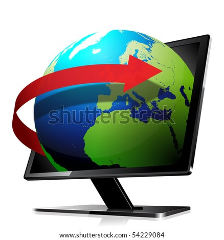 3d globe, leaving the screen with an orbit arrow