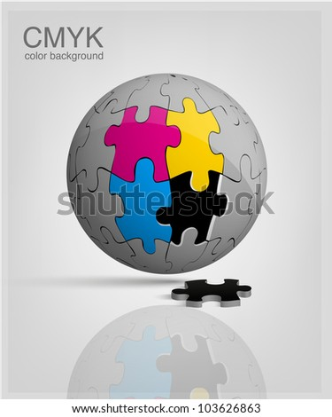 3d globe made from puzzle pieces. CMYK vector