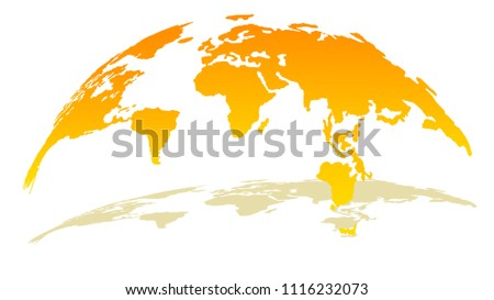 3d globe map in bright yellow