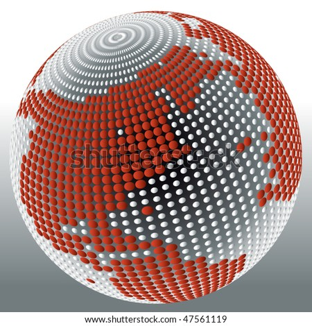 3d globe with dots