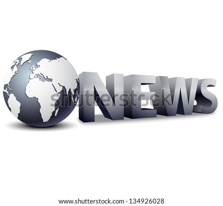 3d globe with word news