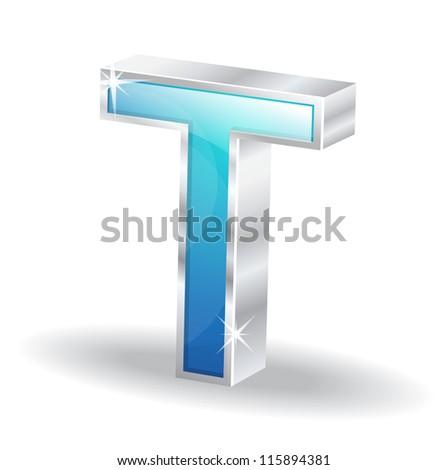 3d Glossy Alphabet D Letter Vector Character