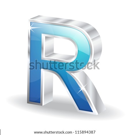 3d Glossy Alphabet D Letter Vector Character