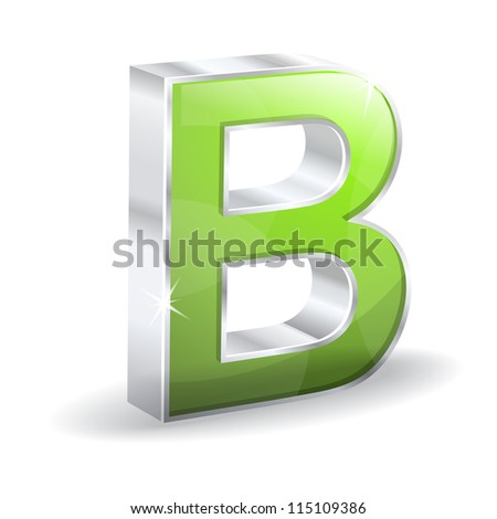 3d Glossy B Alphabet Vector Character