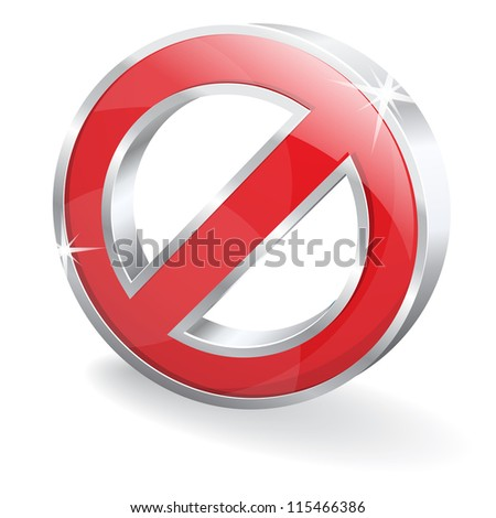 3d Glossy Block Disable Denied Vector Icon