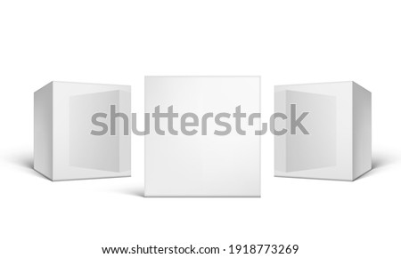 3D Glossy Cardboard Packaging Boxes On White. EPS10 Vector
