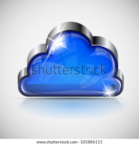3d glossy cloud button with metallic frame. Image contains transparency. 10 EPS