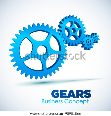3D glossy Gears, vector illustration. Business, Teamwork concept.