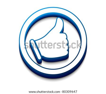 3d glossy Like/thumbs up symbol,