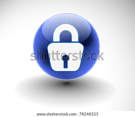 3d glossy lock icon, blue isolated on white background.