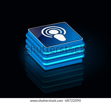 3d glossy network icon, blue isolated on black background.