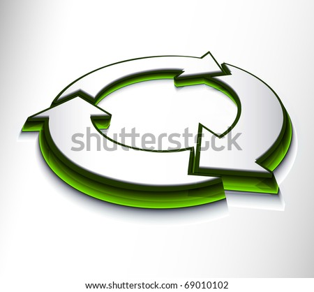 3d glossy recycle icon design on white background.