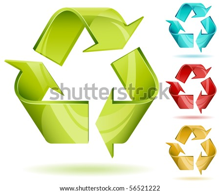 3D glossy recycle vector icon isolated on white with color variants.