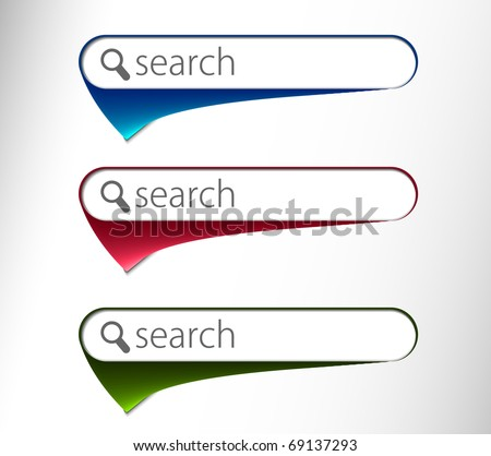 3d glossy search icon, three multi color isolated on white background