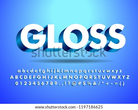 3d Glossy & Shine Text Effect With Shadow, floating with clean blue background Stock photo ©
