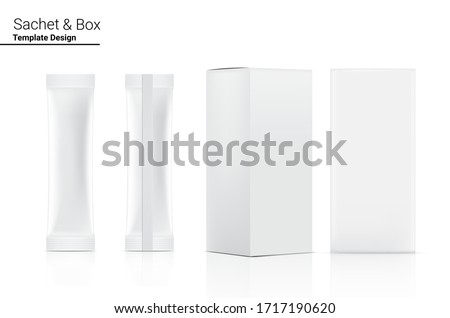 3D Glossy Stick sachet Front and Back with paper box mockup isolated on white background. Vector illustration. Food and beverage Packaging concept design.