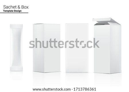 3D Glossy Stick sachet with paper box mockup isolated on white background. Vector illustration. Food and beverage Packaging concept design.