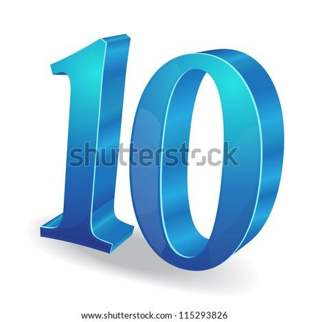 3d Glossy 10 Ten Number Vector