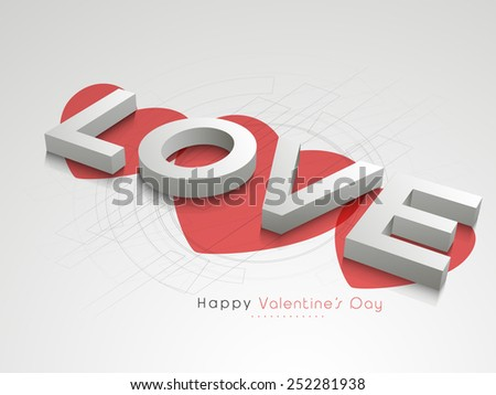 3D glossy text love with red hearts for Happy Valentines Day celebration on hi tech grey background.