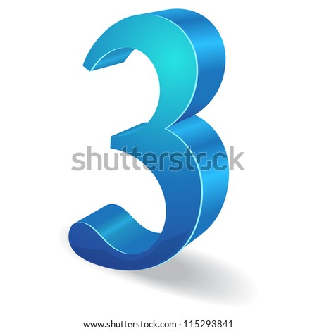 3d Glossy Three 3  Number  Vector