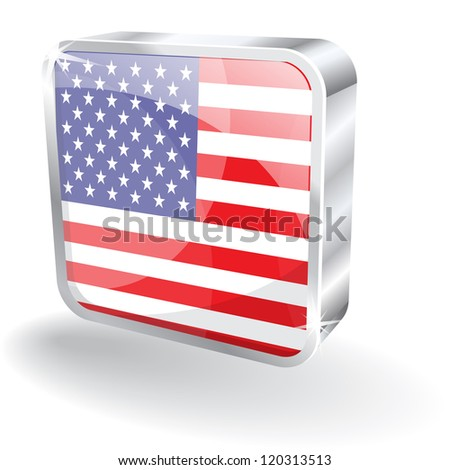 3d Glossy USA Flag Vector Icon