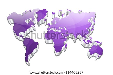 3d Glossy Vector World Map