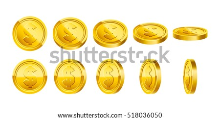 3d gold coins illustration