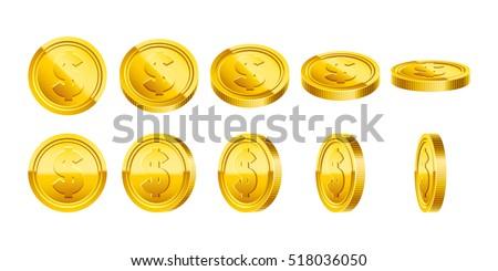 3d gold coins illustration