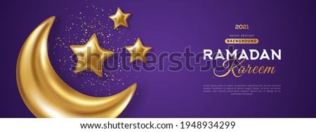 3d gold crescent moon with stars and confetti on dark sky violet background. Vector illustration. Ramadan Kareem concept banner and good night wallpaper. Place for text Сток-фото ©