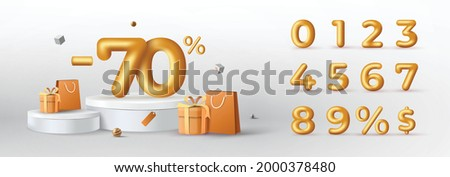 3D Gold Discount numbers on podium with shopping bag and gift box vector. Price off tag design collection. 0, 1, 2, 3, 4, 5, 6, 7, 8, 9, percent and dollar illustration.