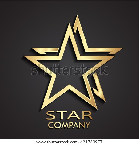3d gold double star modern logo