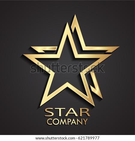 3d gold double star modern logo