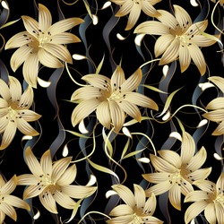 3d gold floral seamless pattern. Abstract floral black vector background. Modern surface gold 3d flowers wallpaper. Vintage 3d paisley flowers. Vertical waves. Swirl line art tracery elegance leaves
