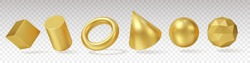 3d Gold Geometry. Realistic render yellow metallic objects, minimalistic simple different angles shapes, standard primitives. Vector set