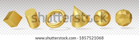 3d Gold Geometry. Realistic render yellow metallic objects, minimalistic simple different angles shapes, standard primitives. Vector set Сток-фото ©