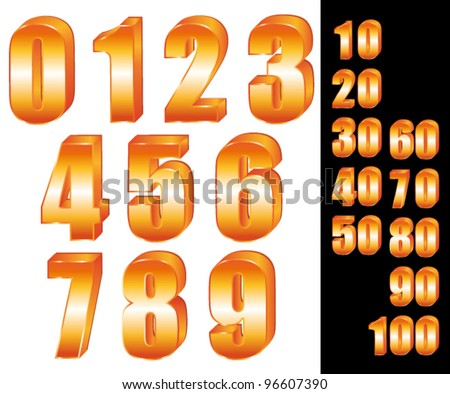3D Gold numbers vector set. Zero to ten. Ten to hundred.