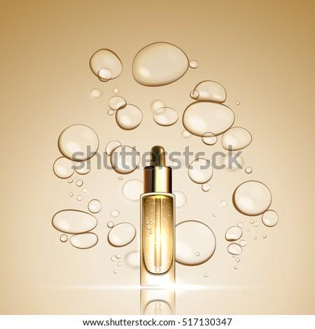 3D Gold serum  essence oil bottle on bubble liquid effect background. Premium skincare treatment ad concept template. Vector gold water oil bubbles illustration.