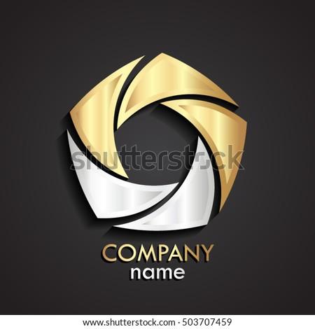 3d gold silver swirl logo