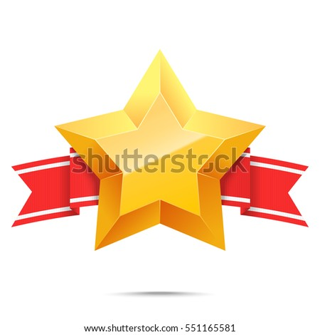 3d gold star and red banner