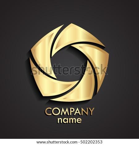 3d gold swirl logo   shutter