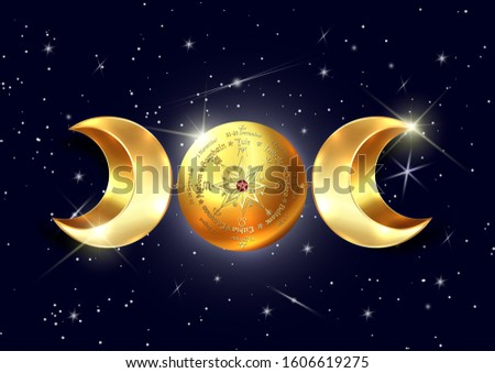 3D gold triple moon Wicca pagan goddess, wheel of the Year is an annual cycle of seasonal festivals. Wiccan calendar and holidays. Compass, middle pentagram symbol, names in Celtic of the Solstices