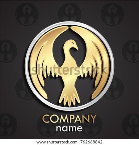 Stock Photo 3d golden bird stylized shape silver circle logo