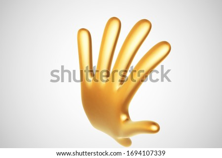 3d golden cartoon hand raised