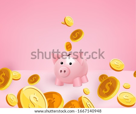 3d Golden coins falling into a pink piggy bank, piggy on white. US dollar coins 3d. Bank and investment concept. Inserting a coin into a piggy bank. Pink background gradient. 3d piggy render vector