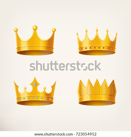 3D golden crown for king or monarch, queen or princess tiara, prince headdress. Classic heraldic imperial sign. Vintage or old jewelry and emperor coronation ceremony, monarchy theme
