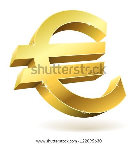 3D golden Euro sign isolated on white vector illustration.