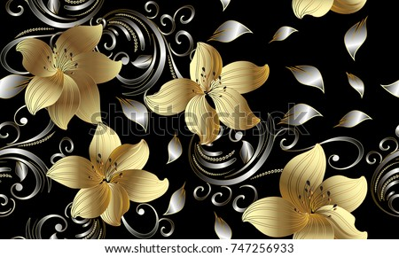 3d golden flowers seamless pattern. Floral background. Vintage 3d wallpaper. Swirl line art tracery floral ornaments. Ornate surface vector texture. Silver leaves, dots, gold 3d flowers with shadows